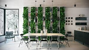 Modern Fresh Dining Room With Wall Plants Decoration