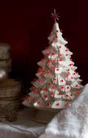 White Trees Look Good With A Number Of Different Colored Lights Vintage Ceramic Christmas TreeMini