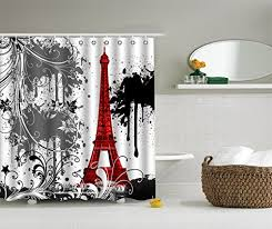 arty red black and white paris eiffel tower shower curtain