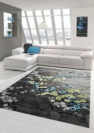 designer teppich moderner teppich wohnzimmer teppich blumenmotiv grau türkis grün weiss größe 80x150 cm