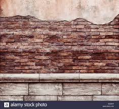 DECAYING WALL Old Grungy Brick Wall With Peeled Off Stucco Rustic Texture Background