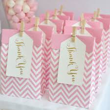 Pink White And Gold Birthday Decorations by Pink Treat Bags With Gold Thank You Tags Bags And Tags From Www
