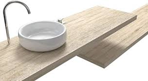 regal waschbecken aus holz laminat eiche vintage auch auf größe inkl pfosten wandbefestigung 100 made in italy widerstandsfähig gegen wasser