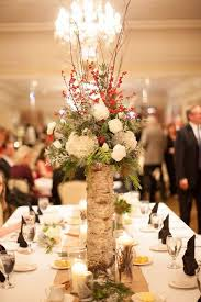 Tree Trunk Winter Wedding Centerpiece