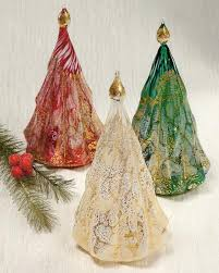 24K Gold Infused Murano Christmas Trees