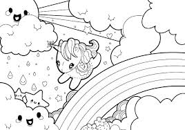 Coloring Pages Cute Colouring Rainy Rainbow Unicorn Kawaii Crush Anime Cru Book Art In Free