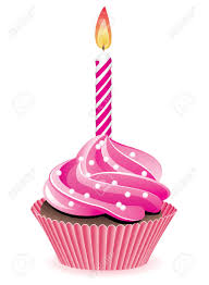 Vector pink cupcake with Pink birthday cupcake