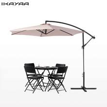 IKayaa US Stock 3M Beach Patio Umbrella Garden Furniture Rain Gear Base Cafe Courtyard Parasol