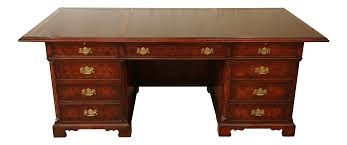 Antique John Widdicomb Dresser by John Widdicomb Burled Mahogany Leather Top Executive Desk Chairish