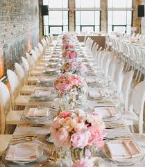 Long Table Pink Wedding Centerpiece Photography Mango Studios
