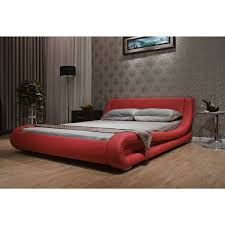 California King Platform Bed With Headboard by California King Red Faux Leather Upholstered Platform Bed With Modern
