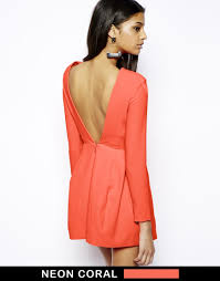 aq aq beat mini dress with low back and sleeves in red lyst