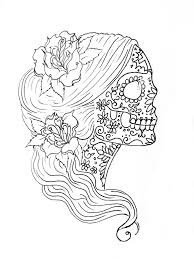 Simple Sugar Skull Drawing Coloring Pages Adult