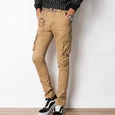 mens cargo pantalon slim droite noir kaki armée vert multi poche