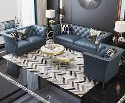 chesterfield edelstahl polster sitz garnitur sofa 3 1 leder wohnzimmer neu