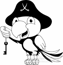 Cartoons Clipart black white parrot with key of tresure clipart