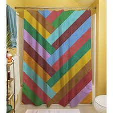 Chevron Print Shower Curtains by Red Purple Rainbow Chevron Stripes Printed Shower Curtain