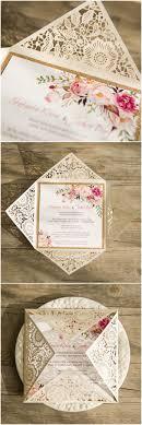 Bohemian Rustic Spring Flower Glittery Rose Gold Laser Cut Invitations EWWS085