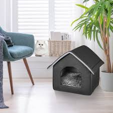 details zu hundehütte hundehaus katzenhöhle katzenhaus hundebett abnehmbar dunkelgrau s m l