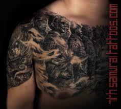 Mens Asian Fudog Terracotta Warriors Chest Upper Arm Shoulder Tattoo 5
