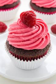 Decadent chocolate cupcakes stuffed with creamy nutella and topped with fresh raspberry frosting