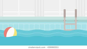 Background Of Swimming Pool With Inflatable Ball Vector Flat Design Illustration Horizontal Layout