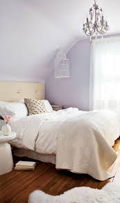 Gorgeous Lavender And Tan Bedroom With Wall Color Floral Motif Chandelier Crystal Droplets