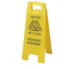 Caution Wet Floor Banana Sign by Carlisle English Spanish German Yellow Wet Floor Sign 6 Pack