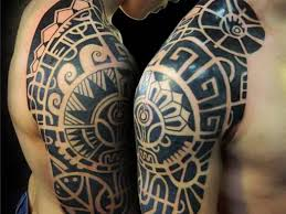 Black Mayan Tattoo On Right Half Sleeve