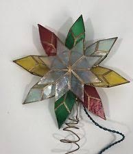Vintage Christmas Tree Topper Stained Glass Star Retro Italian Phillips Light