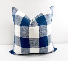 Navy Blue Check Pillow cover Blue pillow