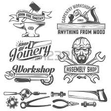 Logos With Working Tools Emblems Carpentry Workshop Forge Assembly Shop Worker