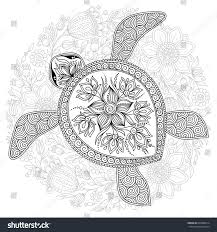 Vector Illustration Of Sea Turtle For Coloring Book Pages Kids And Adults Tattoo