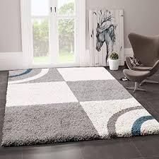 vimoda wohnzimmer teppich hochflor shaggy deko kariert streifen turkis creme grau pflegeleicht modern maße 70x140 cm