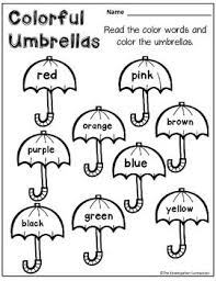 FREE Color Word Umbrellas Part Of An April Themed Printables Pack For Kindergarten English Worksheets