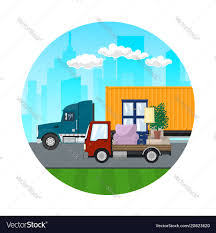 Icon Of Trucks Drive On The Road Royalty Free Vector Image