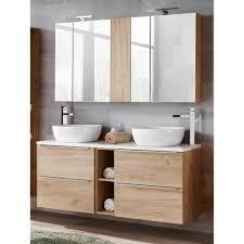 badmöbel set mit doppel waschtisch inkl 2 keramik aufsatzbecken toskana 56 wotaneiche hochglanz weiß bxhxt ca 140 190 48cm