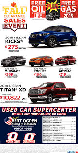 Fall Clearance Sales Event, Bert Ogden Nissan In McAllen, Mcallen, TX Mcallen Tx Cars For Sale Autocom Buick Chevrolet Gmc Dealership Weslaco Used Payne Truck Driving School Tx Fraud And Scam Sightings Locations Semi Trucks For 2009 Freightliner Business Class M2 106 Mcallen 121933008 2019 Ford Mustang Gt In Edinburg Specials Incentives Ram Sterling L7500 5002174678 Equipmenttradercom Cat D7f Dozer Specs Texas 2007 Intertional 4400 How A Plumbers Truck Wound Up Is Hands