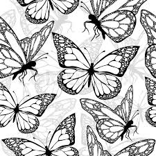Butterflies Seamless Pattern Monochrome Coloring Book Black And White Illustration In Boho Style Hippie Bohemian Butterfly