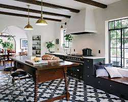 InteriorAstonishing Modern Colonial Kitchen With Geometric Floor And White Exhaust Hood Also Brass Lampshades