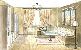moderne wohnzimmer mit weißen ledersofa aquarell