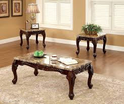 Amazon Furniture Of America Beltran 3 Piece Traditional Faux Marble Top Accent Tables Set Dark Oak Kitchen Dining