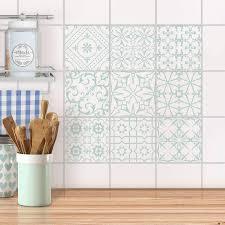 fliesenaufkleber set für küche bad design türkise ornamente
