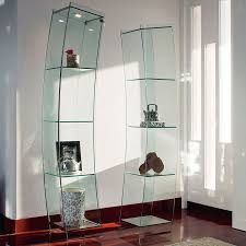 clear glass showcase with curved door and back with steel