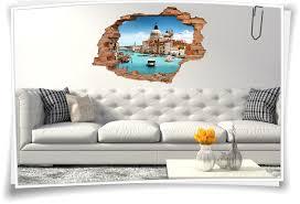 wand 3d wand aufkleber wand bild wand durchbruch wohnzimmer deko italien venedig markus dom gondel venezia