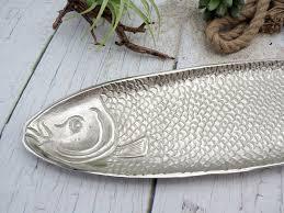 tablett schale aluminium dekoschale maritime deko fisch silber sommer garten küche
