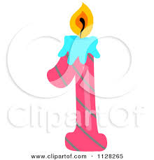 Number 1 birthday candle clipart