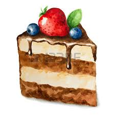 Vector watercolor pie piece of cake It can be used for card postcard