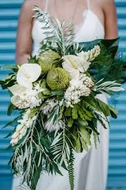Tropical Green And White Bouquet With Lilies Proteas
