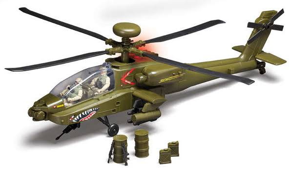 Daron Toys Ah 64 Apache Helicopter Aircraft Model Kit - Green